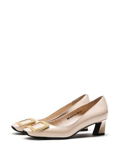 Apricot Leather Imitation Pearl Dress Summer Heel  f8cO3IZs