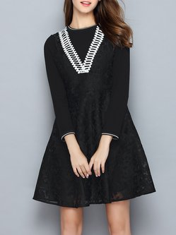 Black Floral Embroidered Long Sleeve Two Piece Mini Dress