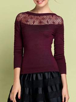 Purple Elegant Crochet-trimmed Boat Neck Sweater