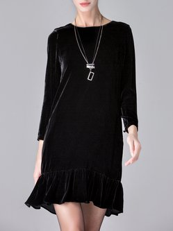 Black Flounce Elegant  Silk-blend Velvet Plain Mini Dress