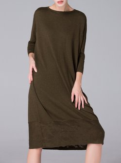 Army Green 3/4 Sleeve Wool Blend Slash Neck Midi Dress