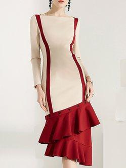 Color-block Asymmetric Buttoned Ruffled Statement Dress