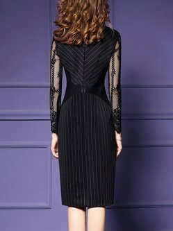 Plus Size Black Guipure Lace Paneled Slit Wrap Dress