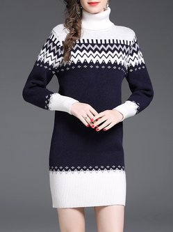 Turtleneck Long Sleeve Intarsia Elegant Sweater Dress