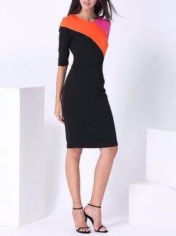 Black Color-block Half Sleeve Midi Dress
