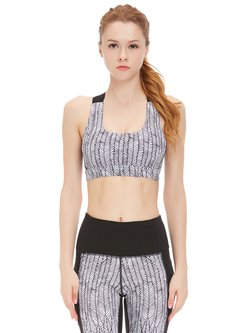 White Color-block Stretchy Printed Sports Bra (Sportswear for Fitness)