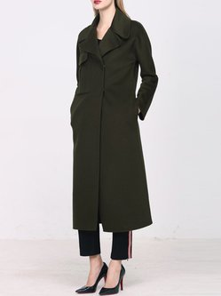 Dark Green Pockets H-line Long Sleeve Wool Coat