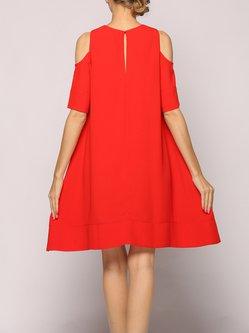 Cold Shoulder A-line Casual Half Sleeve Midi Dress