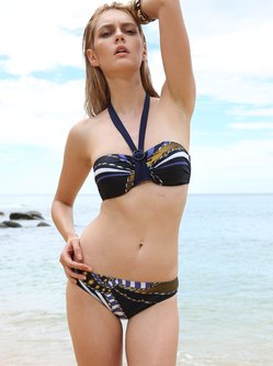 Stretchy Color-block Padded Ruched Halter Bikini