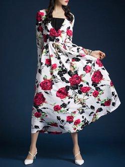 White Floral-print Long Sleeve Midi Dress