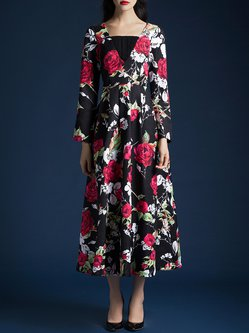 Black Polyester Long Sleeve A-line Floral Midi Dress