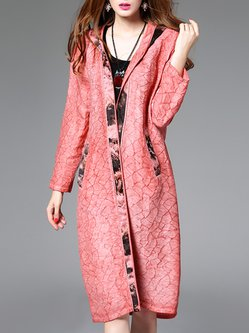 H-line Jacquard Simple Long Sleeve Coat