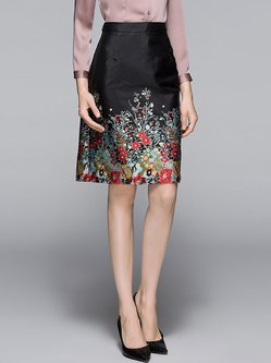 Black Printed Floral A-line Casual Midi Skirt