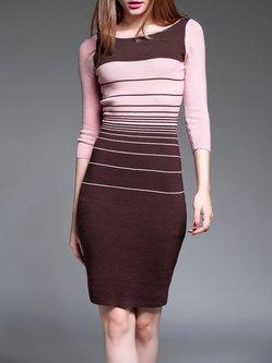 Burgundy Casual Angora-blend Midi Dress