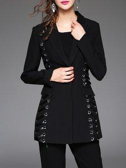 Black Elegant Lace Up Lapel Silk-blend Blazer