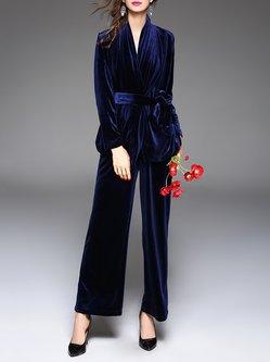 Blue Plain Velvet Surplice Neck Two Piece Elegant Jumpsuit With Belt