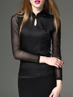 Black Buttoned Plain Keyhole Long Sleeved Top