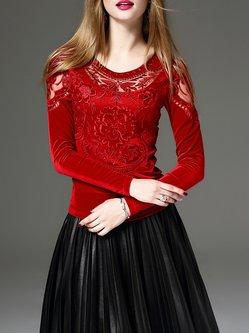 Elegant Embroidered Floral Cotton-blend Long Sleeve Top