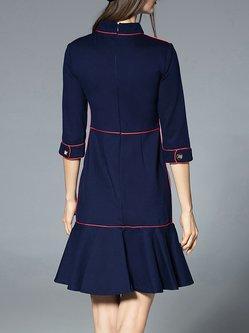 Piping Casual Flounce Holiday Dress