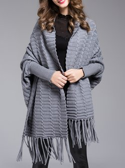 Gray Knitted Casual Fringed Cape