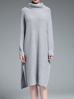 Knitted Simple H-line Slit Sweater Dress