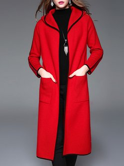Red Long Sleeve Color-block Hoodie Wool Blend Cardigan