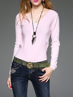 Pink Angora-blend Casual Asymmetrical Sweater
