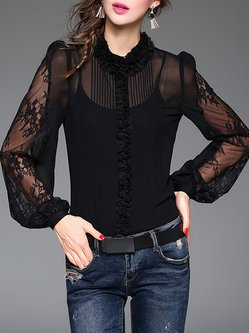 Girly Floral Ruffled Pierced Blouse With Camis
