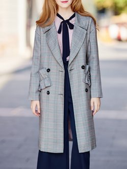 Gray Casual Polyester Coat