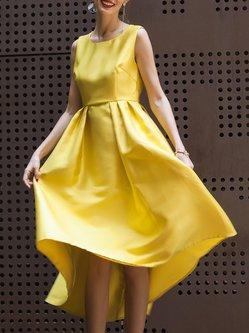 Sleeveless Folds Plain Swing Midi Dress