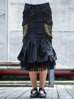 Black Embroidered Statement Midi Skirt