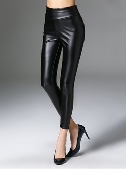 Black Plain Sheath Polyester Casual Leather Pants