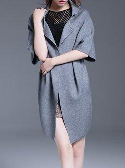 Gray Plain Short Sleeve Knitted Simple Coat