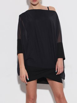 Black Bateau/boat Neck 3/4 Sleeve Tunic