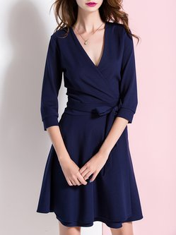 Blue Simple Surplice Neck Folds Mini Dress with Belt