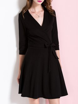 Black Simple A-line 3/4 Sleeve Surplice Neck Mini Dress with Belt