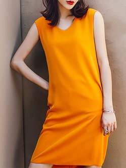 Sleeveless Chiffon Color-block Elegant Midi Dress