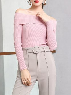 Pink Long Sleeve Plain Off Shoulder Knitted Sweater