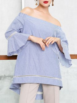 Girly Blue Stripes Asymmetrical Frill Sleeve Blouse