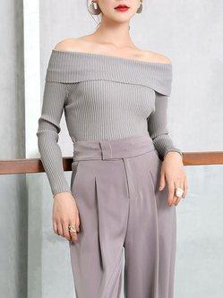 Knitted Off Shoulder Plain Elegant Long Sleeve Sweater