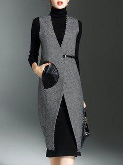 Black Houndstooth Sleeveless Printed Polyester Vests
