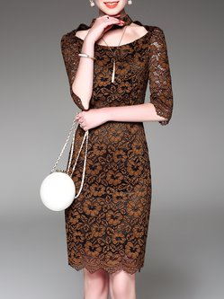 Casual Half Sleeve Sheath Midi Dress