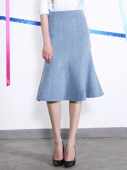 Gray Mermaid Wool Elegant Midi Skirt