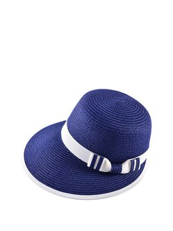 Blue Casual Bow Color-block Hat