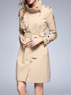 Khaki Plain A-line Simple Zipper Pockets Trench Coat with Belt