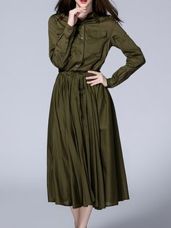 Army Green Plain Long Sleeve Cotton Shirt Collar Shirt Dress