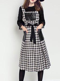 Black A-line Cotton-blend Spaghetti Midi Dress With Belt