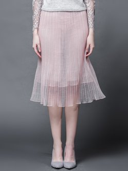 Pink Sweet A-line Ruched Midi Skirt