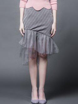 Gray Asymmetric Mermaid Elegant Midi Skirt