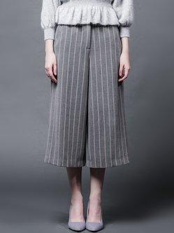 Gray Simple H-line Straight Leg Pants